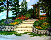 Pathway Paintings - Trellace Gardens by Elizabeth Robinette Tyndall
