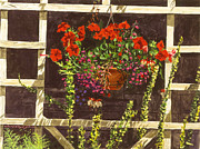 Trellis Paintings - Trellis Flower Pot by David Lloyd Glover