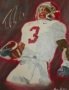Tide Drawings Prints - Trent Richardson Alabama Crimson Tide Print by Ryne St Clair
