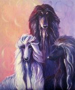 Afghan Hound Paintings - Tres Banditos by Terry  Chacon