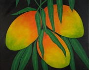 Mango Framed Prints - Tres Mangos Framed Print by Maureen Schmidt