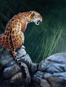 Big Cat Pastels Posters - Trespasser Poster by Deb LaFogg-Docherty