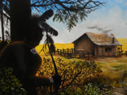 Log Cabin Art Prints - Trespassers Print by David Paul