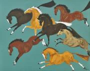 Cheval Posters - Tressauter en Bleu Poster by Liz Pizzo