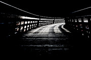 Wooden Posters - TRESTLE CORRIDOR kinsol trestle railroad trail into darkness black and white Poster by Andy Smy