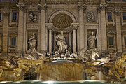 Baroque Posters - Trevi fountain at night Poster by Joana Kruse