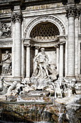 Fountain Scene Framed Prints - Trevi Fountain Detail Framed Print by Joan Carroll