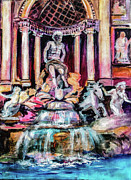Historical Buildings Painting Posters - Trevi Fountain Rome Italy Poster by Ginette Fine Art LLC Ginette Callaway