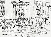 Art Historical Drawings Prints - Trevi Fountain Rome Italy Ink Drawing by Ginette Print by Ginette Fine Art LLC Ginette Callaway