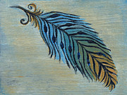 Nature Study Painting Posters - Tri-Color Feather Poster by Kristen Fagan