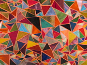 Bright Colors Glass Art Metal Prints - Triangles Metal Print by Donna Moore