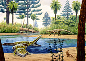 Triassic Framed Prints - Triassic Environment Framed Print by Mauricio Anton