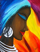 Tribal Art Paintings - Tribal Beauty by Parul Mehta
