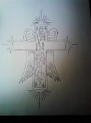 Then Drawings - Tribal Cross  by Brandon  Ruble