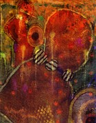 Textiles Mixed Media Posters - Tribal Dancers Poster by Angela L Walker