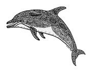 Tropical Drawings Posters - Tribal Dolphin Poster by Carol Lynne