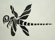 Tattoo Flash Posters - Tribal Dragonfly Poster by Pete Maier
