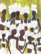 Tanzania Paintings - Tribal Girls by Kapal-Lou