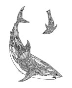 Shark Drawings - Tribal Great White and Sea Lion by Carol Lynne