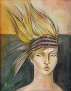 Blonde Painting Framed Prints - Tribal Framed Print by Jacque Hudson-Roate