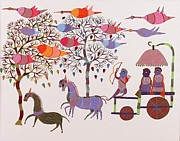 Gond Art Gallery Painting Originals - Tribal Landscape Nsu 20  by Nikki Singh Urveti