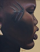 African Art Portrait Paintings - Tribal Mark by Kaaria Mucherera