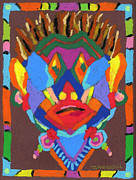 Vivid Colors Painting Posters - Tribal Mask Poster by Stephen Anderson