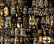 Masks Prints - Tribal Masks of Papua New Guinea Print by Per Lidvall