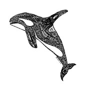 Whale Drawings Metal Prints - Tribal Orca Metal Print by Carol Lynne