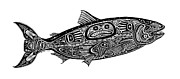 White River Drawings Prints - Tribal Salmon Print by Carol Lynne