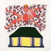 Gond Art Painting Originals - Tribal Scene Rsu 18  by Ram Singh Urevti