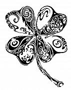 Stylized Drawings Posters - Tribal Shamrock Poster by John Benko