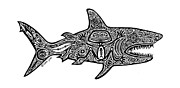 Tropical Fish Drawings Posters - Tribal Shark Poster by Carol Lynne