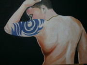 Tribal Art Paintings - Tribal Tattoo by Rosetta  Jallow