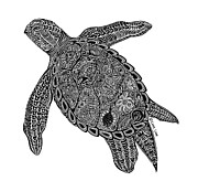 Tropical Drawings Posters - Tribal Turtle I Poster by Carol Lynne