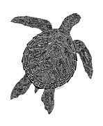 Reptiles Drawings - Tribal Turtle III by Carol Lynne