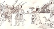 Iraq Drawings Prints - Tribal wars 4000 BC Print by Sohel A Bahjat