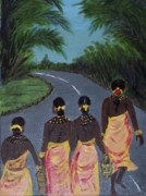 Tribes Paintings - Tribal Women by Iris Devadason