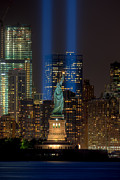 American Flag Manhattan Framed Prints - Tribute in Light XI Framed Print by Clarence Holmes