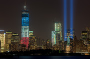 New York Harbor Art - Tribute in Light XIII by Clarence Holmes