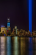 Red White  And Blue Posters - Tribute In Lights Memorial Poster by Susan Candelario