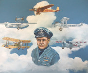 Vintage Aircraft Paintings - Tribute to Bert Hinkler by Murray McLeod