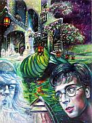 Surrealism Landscape Drawings Prints - Tribute to Harry Potter Print by Veronica Winters
