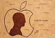 Coffee Paintings - Tribute to Steve Jobs by Georgeta  Blanaru