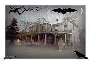 Haunted House Digital Art Framed Prints - Trick or Run Like Hell Framed Print by Brian Wallace