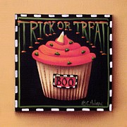 Primitive Painting Posters - Trick or Treat Poster by Catherine Holman