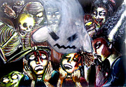 Zombies Drawings Prints - Trick or Treat Print by Hannah Chusid