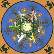 Unicorns Posters - Tricks-n-Treats mandala Poster by Karen MacKenzie