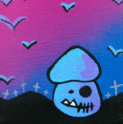 1980s Mixed Media Posters - Tricky Zombie Mushroom Poster by Jera Sky