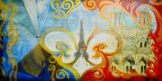 Fleur Di Lis Painting Prints - Tricolore Print by Frederick Aguinaldo